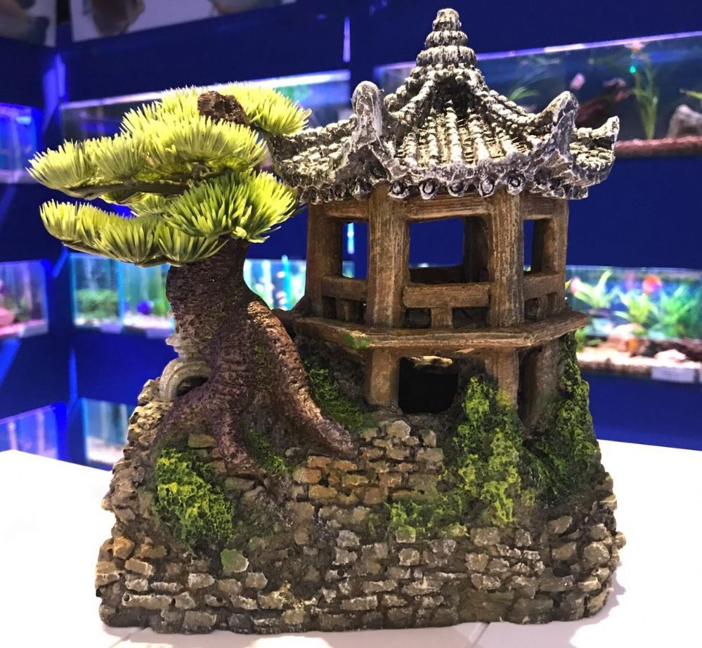 Detailed Pagoda House with Staircase Bonsai & Plants Aquarium Ornament